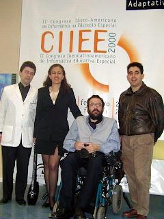 Foto de archivo del CIIEE 2000. De izquierda a derecha: Enrique Varela, Emmanuelle Gutiérrez, Javier Romañach y Rafa Romero