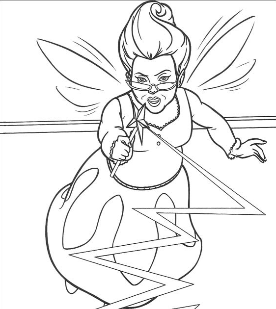 fairy godmother coloring pages | Shrek Coloring Pages: Shrek and Fairy Godmother Coloring Pages