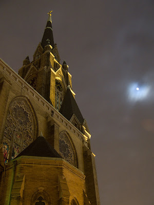 Saint Francis de Sales Oratory, in Saint Louis, Missouri - exterior at night with moon