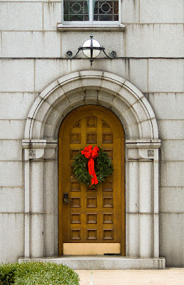 Cathedral Basilica of Saint Louis, in Saint Louis, Missouri - door into rectory with wreath