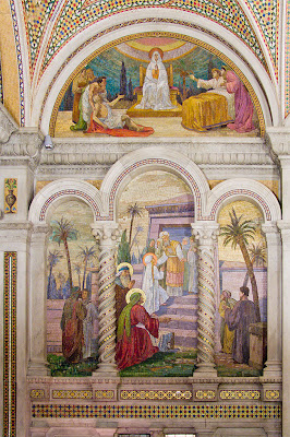 Cathedral Basilica of Saint Louis, in Saint Louis, Missouri - Our Lady's Chapel, mosaic of the Presentation of Mary at the Jewish Temple
