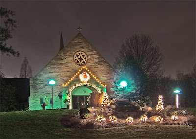 Saint Genevieve of du Bois Church, in Warson Woods, Missouri - Christmas lights