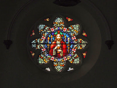 Immaculate Conception Catholic Church, in Columbia, Illinois, USA - Window with Christ and the Eucharist