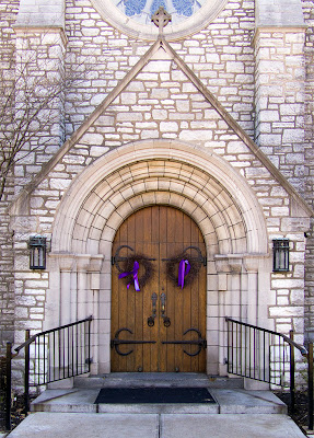 Our Lady of Lourdes Church, in University City, Missouri - front door with Lenten wreathes