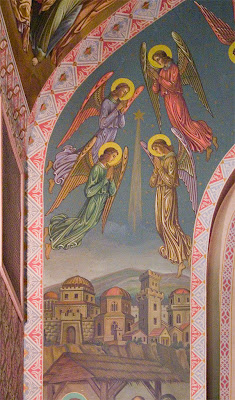 Saint Margaret of Scotland Church, in Saint Louis, Missouri, USA - Painting of angels above Bethlehem