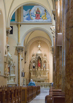 Saint Anthony of Padua Roman Catholic Church, in Saint Louis, Missouri, USA - view down the left aisle