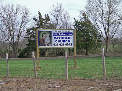 Future Home of Saint Gianna Roman Catholic Church, in Wentzville, Missouri, USA - sign