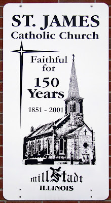 Saint James Roman Catholic Church, in Millstadt, Illinois, USA - sign