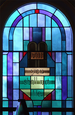 Saint James Roman Catholic Church, in Millstadt, Illinois, USA - stained glass window of commandment