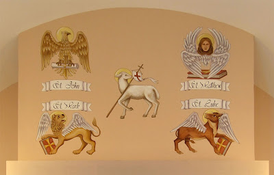 Saint James Roman Catholic Church, in Millstadt, Illinois, USA - painting of symbols of Evangelists