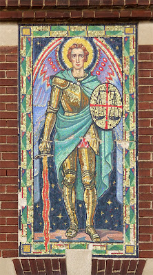 Saint Francis de Sales Oratory, in Saint Louis, Missouri, USA - mosaic of Saint Michael the Archangel, above the gymnasium door