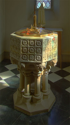 Saint Luke the Evangelist Church, in Richmond Heights, Missouri - baptismal font