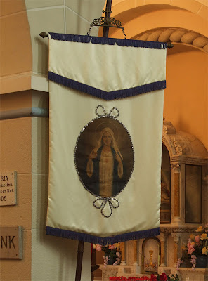 Shrine of Our Lady of Sorrows, in Starkenberg, Missouri, USA - Banner with Mary