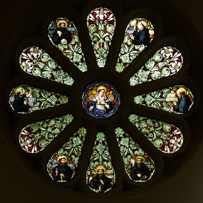Shrine of Our Lady of Sorrows, in Starkenberg, Missouri, USA - rose window