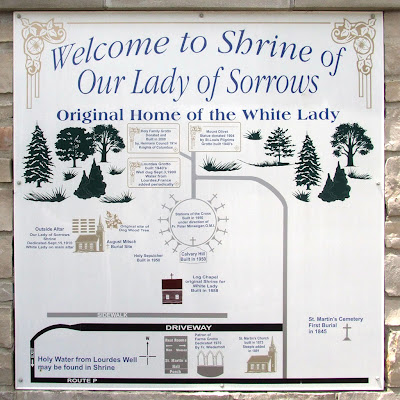 Shrine of Our Lady of Sorrows, in Starkenberg, Missouri, USA - sign