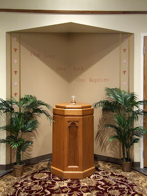 Saint Gianna (temporary) Roman Catholic Church, in Lake Saint Louis, Missouri - baptismal font