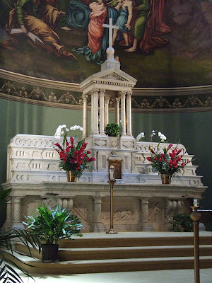 Saint John Apostle and Evangelist Roman Catholic Church, in Saint Louis, Missouri, USA - high altar decorated for Pentecost