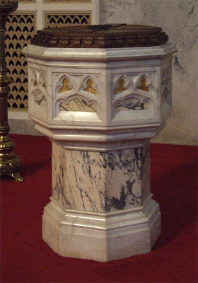 Saint Roch Roman Catholic Church, in Saint Louis, Missouri, USA - baptismal font