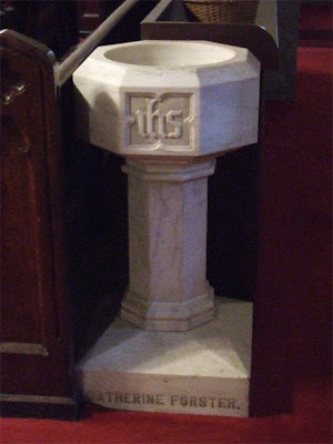 Saint Roch Roman Catholic Church, in Saint Louis, Missouri, USA - Holy water font