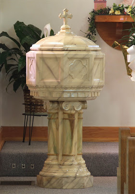 Saint Theodore Roman Catholic Church, in Flint Hill, Missouri, USA - Baptismal font