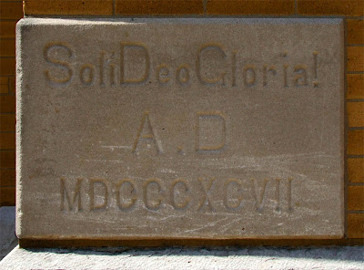 Saint Paul Roman Catholic Church, in Saint Paul, Missouri, USA - cornerstone