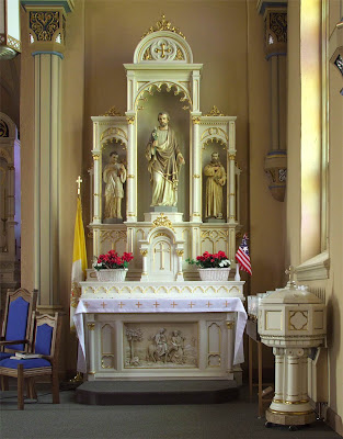 Saint Paul Roman Catholic Church, in Saint Paul, Missouri, USA - Altar of Saint Joseph
