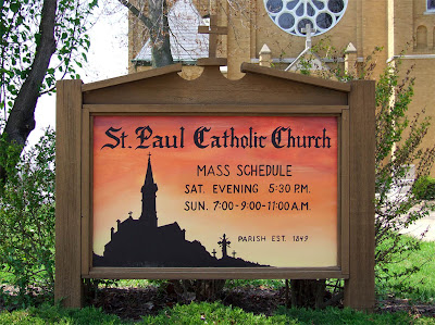 Saint Paul Roman Catholic Church, in Saint Paul, Missouri, USA - sign