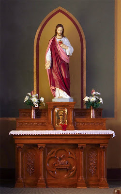 Saint Ann Roman Catholic Church, in Clover Bottom, Missouri, USA - altar to the Sacred Heart of Jesus