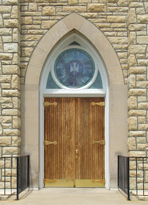 Saint Ann Roman Catholic Church, in Clover Bottom, Missouri, USA - front door