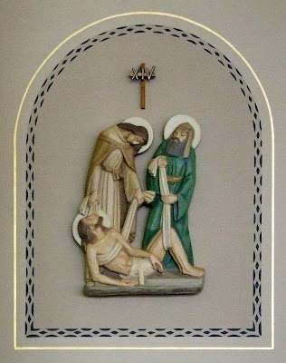 Saint Vincent de Paul Roman Catholic Church, in Dutzow, Missouri, USA - station of the cross