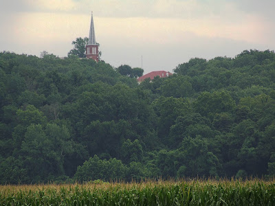 Saint Vincent de Paul Roman Catholic Church, in Dutzow, Missouri, USA - view from a distance