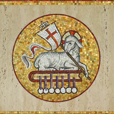 Sainte Genevieve du Bois Roman Catholic Church, in Warson Woods, Missouri, USA -Lamb of God mosaic