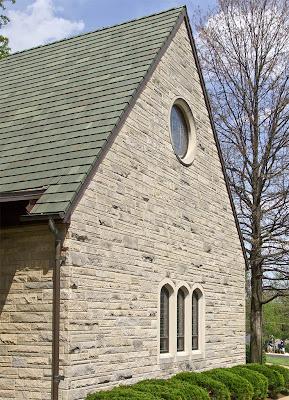Sainte Genevieve du Bois Roman Catholic Church, in Warson Woods, Missouri, USA - exterior side