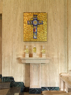 Sainte Genevieve du Bois Roman Catholic Church, in Warson Woods, Missouri, USA - Holy oils