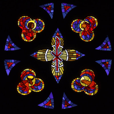 Sainte Genevieve du Bois Roman Catholic Church, in Warson Woods, Missouri, USA - Rose window with symbols of the four Evangelists