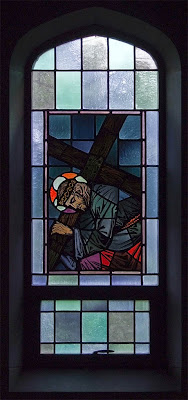 Sainte Genevieve du Bois Roman Catholic Church, in Warson Woods, Missouri, USA - stained glass window station of the cross