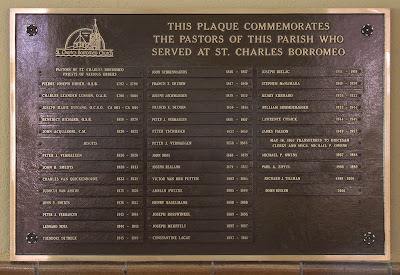 Saint Charles Borromeo Roman Catholic Church, in Saint Charles, Missouri, USA - plaque of pastors of the parish