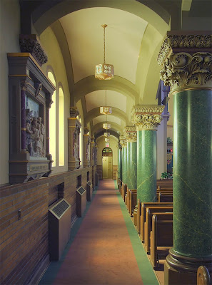 Saint Charles Borromeo Roman Catholic Church, in Saint Charles, Missouri, USA - side aisle