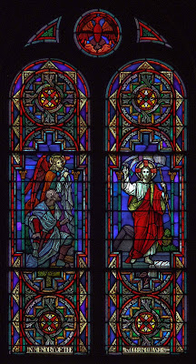 Saint Charles Borromeo Roman Catholic Church, in Saint Charles, Missouri, USA - stained glass window of the Resurrection