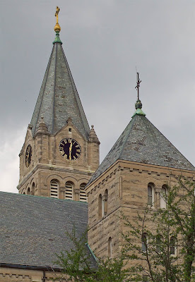 Saint Charles Borromeo Roman Catholic Church, in Saint Charles, Missouri, USA - church towers