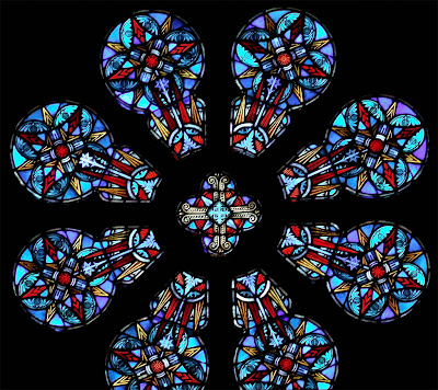 Saint Ignatius of Loyola Roman Catholic Church, in Concord Hill, Missouri, USA - rose window