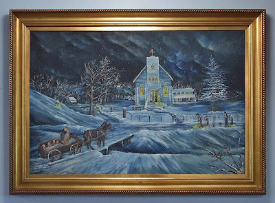 Saint Stephen Roman Catholic Church, in Richwoods, Missouri, USA - painting of church