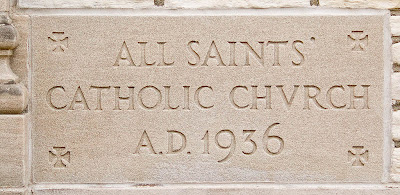All Saints Roman Catholic Church, in University City, Missouri, USA - cornerstone