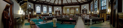 All Saints Roman Catholic Church, in University City, Missouri, USA - panorama of interior
