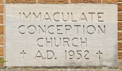 Immaculate Conception Roman Catholic Church, in Union, Missouri, USA - cornerstone