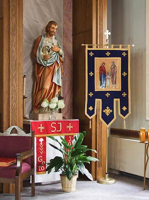Immaculate Conception Roman Catholic Church, in Union, Missouri, USA - statue of Saint Joseph