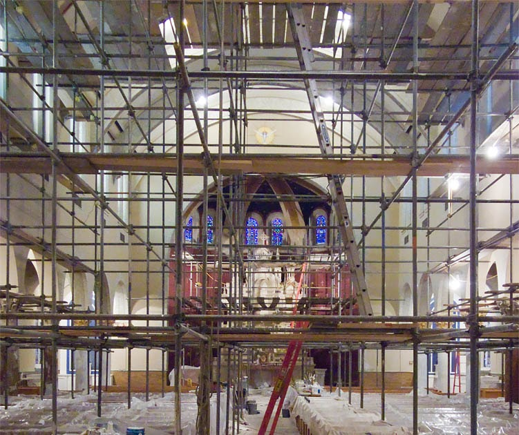 Rome of the west church restoration underway for Church mural restoration