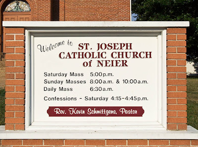 Saint Joseph Roman Catholic Church in Neier, Missouri, USA - sign