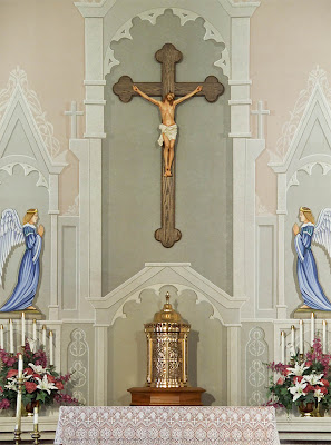 Saint Joseph Roman Catholic Church in Neier, Missouri, USA - crucifix and tabernacle