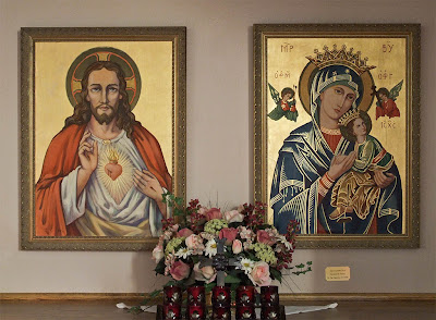 Saint Joseph Roman Catholic Church in Neier, Missouri, USA -  Icons of Jesus and Mary